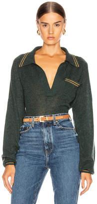 KHAITE Ellen Raglan Sleeve Sweater in Forest Green & Fawn Stripe | FWRD