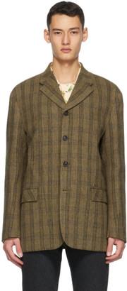 ANDERSSON BELL Khaki Raw-Cut Wool Blazer