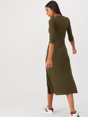 River Island Jersey Midi Dress - Khaki
