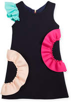 Zoe Neoprene Ruffle Shift Dress, Size 7-16