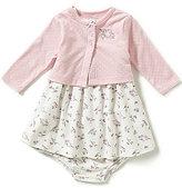 Little Me Baby Girls 3-12 Months Bird-Print Dress, Dotted Cardigan & Bloomer Set