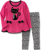 Kids Headquarters Pink Cat Tunic & Leggings - Infant, Toddler & Girls