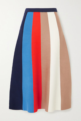 Victoria Victoria Beckham Striped Ribbed-knit Midi Skirt - Red
