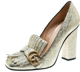 Gucci Metallic Gold Foil Leather GG Marmont Fringe Detail Block Heel Pumps Size 39.5