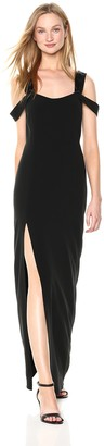 Halston Women's Cold Shoulder Open Neck Fitted Crepe Gown