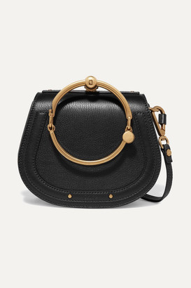 Chloé Nile Bracelet Small Textured-leather And Suede Shoulder Bag - Black