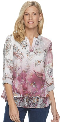 Croft & Barrow Women's Sublimated Print Layered-Hem Top