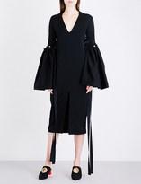 Ellery Flared-sleeve crepe midi dress