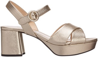 Prada Crossover Strap Block Heel Sandals