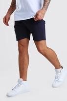 boohoo Mens Navy Skinny Stretch Chino Shorts, Navy