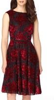 Tahari Burnout Velvet Fit & Flare Dress (Regular & Petite)