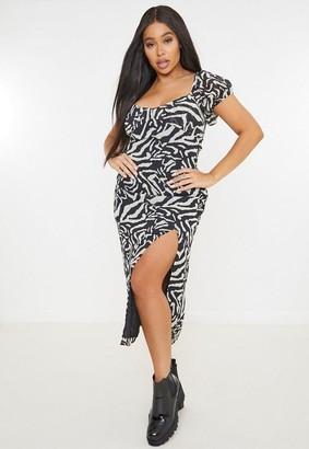 Missguided Plus Size Black Zebra Print Milkmaid Midaxi Dress