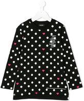 Diesel polka dot heart print top - kids - Cotton - 6 yrs