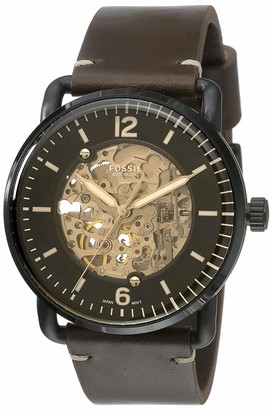 Fossil Men's The Commuter Auto Stainless Steel Mechanical-Hand-Wind Leather Strap