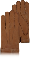 Forzieri Men's Cashmere Lined Brown Italian Leather Gloves