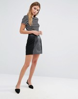 Oasis Suedette And Faux Leather Patched Mini