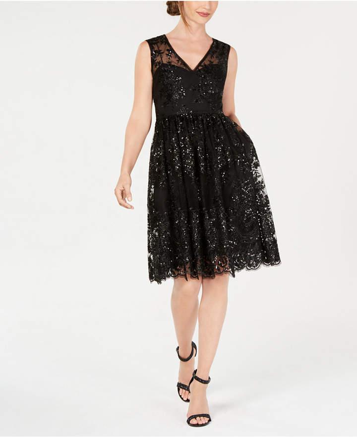 Adrianna Papell Sequin A-Line Dress
