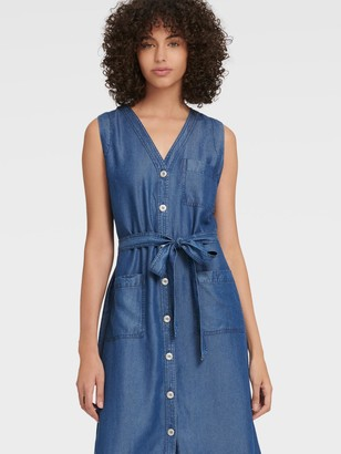 DKNY Women's V-neck Button-up Midi Dress - Indigo Wash - Size XX-Small