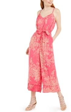As U Wish Juniors' Floral-Print Belted Gaucho-Leg Jumpsuit