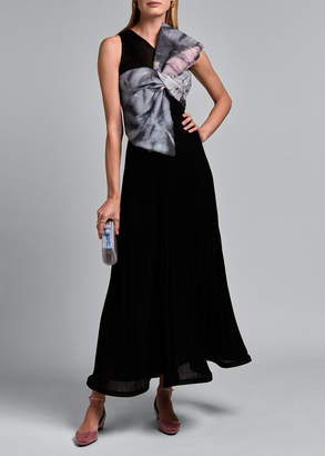 Giorgio Armani Sleeveless V-neck Pleated Gown with Oversize Bow