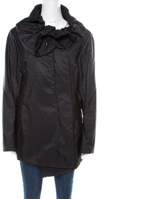 Jil Sander Black Neck Tie Detail Padded Zip Front Jacket XL