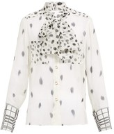 Burberry Pussy-bow Dalmatian-print Silk Blouse - Womens - Black White