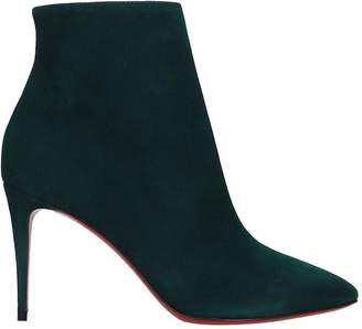 Christian Louboutin Eloise Booty 85 High Heels Ankle Boots In Green Suede