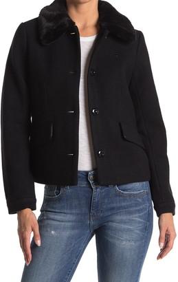 G Star Minor Faux Fur Collar Teddy Classic Wool Jacket