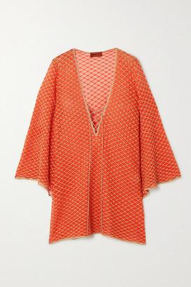 Missoni Mare Lace-up Metallic Crochet-knit Kaftan - Orange