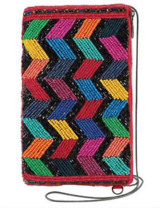 Mary Frances Zig Zag Black Beaded Chevron Pattern Crossbody Phone Bag
