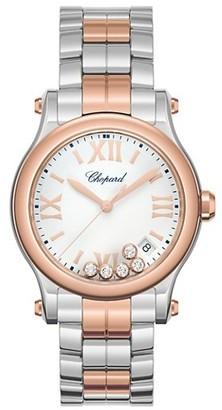 Chopard Happy Sport 18K Rose Gold, Stainless Steel & Diamond Bracelet Watch