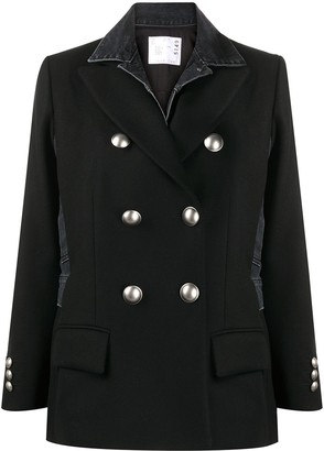 Sacai Double-Breasted Denim-Panelled Coat