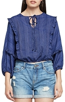 BCBGeneration Ruffled Peasant Cropped Top