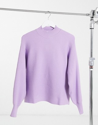 Bershka ribbed crew neck jumper with balloon sleeves in lilac