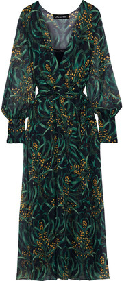 Oscar de la Renta Wrap-effect Printed Silk-chiffon Maxi Dress