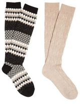 F&F 2 Pair Pack of Honeycomb and Cable Knit Knee High Thermal Socks, Women's