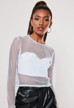 Missguided White Fishnet Bust Panel Crop Top
