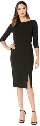Donna Morgan Boat Neck 3/4 Sleeve Side Slit Crepe Dress (Black) Women's Dress