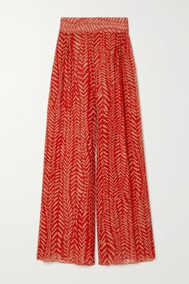 Johanna Ortiz Transit To The Stars Printed Crepe De Chine Pants - Red