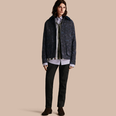 Burberry Floral Jacquard Field Jacket with Corduroy Collar