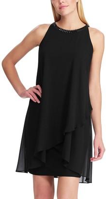 Chaps Women's Layered Ruffle Sheath Dress