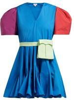 Rhode Resort Vivienne V-neck Puff-sleeve Cotton-blend Dress - Womens - Green Multi