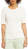 Preston & York Wendy Round Neck Short Sleeve Sweater Top