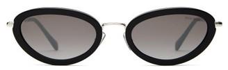 Miu Miu Oval Cat Eye Acetate Frame Sunglasses - Womens - Black