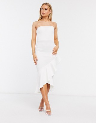 True Violet bandeau ruffle midi dress in ivory