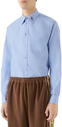Gucci Bee & GG Embroidered Boxy Fit Oxford Shirt