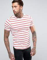 Another Influence Wide Stripe Curved Hem T-shirt