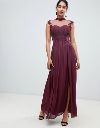 Little Mistress high neck chiffon maxi dress with lace back and delicate floral applique detail-Purple