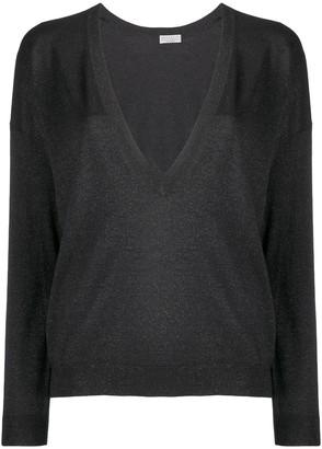 Brunello Cucinelli lamé V-neck sweater