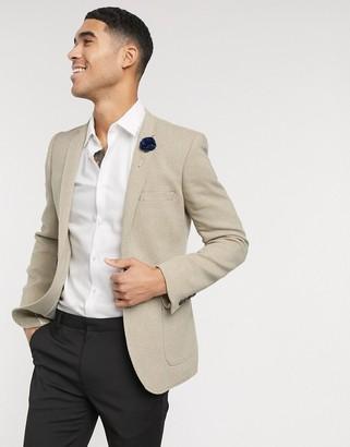 ASOS DESIGN wedding super skinny blazer in beige wool mix twill
